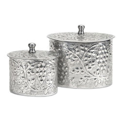 "IMAX CORPORATION - Burgess Aluminum Boxes - Set of 2 - An olive leaf motif encircles this set of two round, lidded aluminum boxes. The perfect size to set on a desk or counter top, they are a stunning way to store small items.  Set of 2 boxes measuring 6""H x 4.5""W x 6.5""L and 8""H x 6""W x 8.5""L each. Find home furnishings, decor, and accessories from Posh Urban Furnishings. Beautiful, stylish furniture and decor that will brighten your home instantly. Shop modern, traditional, vintage, and world designs."