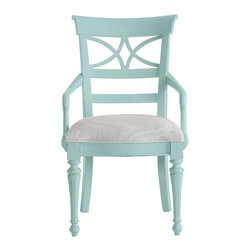 Stanley Furniture - Coastal Living Cottage Sea Watch Arm Chair - Sea Mist Finish - Combine a filigree back and chamfered legs and you've got reason to sit a little longer. Gently bowed arms are comfortable, yet narrow enough to cup in your palm. Features a cushioned seat in your choice of five fabrics. Made to order in America.