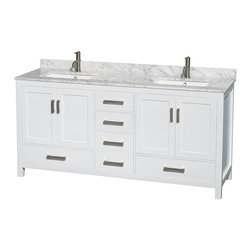 "72"" Double Bathroom Vanity in White, Countertop, Undermount Sink - Distinctive styling and elegant lines come together to form a complete range of modern classics in the Sheffield Bathroom Vanity collection. Inspired by well established American standards and crafted without compromise, these vanities are designed to complement any decor, from traditional to minimalist modern."