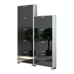 Sarmog - Glossy White Shoe Racks With Single-Depth Mirror Folding Doors - Need a shoe rack? This one is a modern shoe rack that will fit perfectly into your contemporary bathroom.