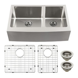 Schon - Schon Luxury 16 Gauge 60/40 Double Bowl Apron Front Kitchen Sink (SCAPS604016) - Schon SCAPS604016 Luxury 16 Gauge 60/40 Double Bowl Apron Front Kitchen Sink, Stainless Steel
