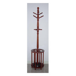 None - Oak Wood Coat Rack Hanger/ Umbrella Stand - This oak wood coat hanger has plenty of room to hold your whole familys cold weather gear,and it looks great in your entryway too. It has hooks for scarves and hats as well as for coats,and it also features a roomy umbrella stand at its base.