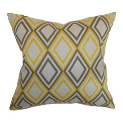 "The Pillow Collection - Eirunepe Geometric Pillow Yellow Kelp Linen 18"" x 18"" - Spruce up your home with this gorgeous geometric throw pillow. This decor pillow comes with a multicolored diamond print pattern in yellow, blue and grey color combination. This accent pillow looks great when paired with solid and prints. Decorate your living room, kitchen or floor with this pretty square pillow. Made from 100% soft cotton fabric. Hidden zipper closure for easy cover removal.  Knife edge finish on all four sides.  Reversible pillow with the same fabric on the back side.  Spot cleaning suggested."