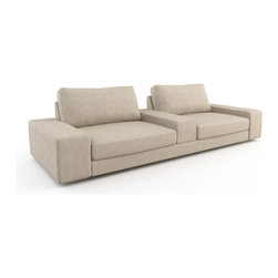 Viesso - Strata Cinema Sofa (Custom) - The perfect cinema sofa. The Cinema Sofa was used in an episode of The Antonio Treatment on HGTV. See pics on this page. The Strata Cinema is setup as the perfect movie and TV watching seating solution. It has a deep frame and ottomans to help you relax, as well as an arm in the middle to act as a table for food and drinks. Low, wide arms invite additional guests to sit, can be hallowed out for storage, and act as more table surface. It really can't get any better than this for a home theater space.