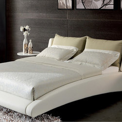 """Zuri Furniture - Cadillac White Leather Platform Bed, Queen - The exquisite headboard covered in the finest Italian leather, this truly is the """"Cadillac"""" of beds! Comfortable back pillows allow you to sit up and enjoy a great novel or a sumptuous breakfast in bed. The Cadillac is available in both black and white. A mattress height of 14 inches is perfect to enjoy the leather headboard pillows. Please note: All back pillows will match your base bed color, either black or white. White version leather bed is not a """"stark"""" white but more of a beautiful powder white/eggshell. Slats ship fully assembled."""
