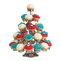Godinger Silver - Carnivalle Chrome Plated Revolving Five Tier Cupcake Stand - Individually decorated cupcakes are the perfect way to add a personal touch to celebrations. The cake stand can hold 35 cupcakes and will make a dazzling display as you show off your petite treats or small confections. This Chrome Cupcake Stand by Godinger Silver is great for parties, showers and wedding events.  *Dimensions: 19 tall. 15.5 diameter