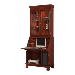 Jasper Cabinet - Sterling Computer Secretary Desk with Hutch - Features: -Computer secretary desk with hutch.-CPU storage compartment with cut-out for ventilation.-Pull out printer tray.-Wire management and surge suppressor.-Interior cavity for standard 17'' flat screen monitor.-Automatic drop lid slide mechanism.-Drop lid lock.-Floor levelers.-Touch lighting in deck.-Pigeon holes for CDs and small drawer on each side.-Maple solids with crotch mahogany and sketch-faced mahogany veneer construction.-Sterling collection.-Please note that this product cannot be cancelled once order is placed. Variations in color, texture and grain may occur due to the uniqueness of wood..-Distressed: No.-Collection: Sterling.-Country of Manufacture: United States.Dimensions: -Overall dimensions: 89'' H x 36'' W x 20'' D.-Overall Product Weight: 250 lbs.