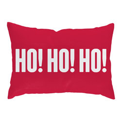Checkerboard Ltd - Ho Ho Ho Decorative Throw Pillow - 14 inch by 20 inch - Festive holiday lumbar shaped pillow in reds and greens is a wonderful accent piece. Our softly textured cotton/polyester fabric is long-lasting, wrinkle-resistant and feels as great as it looks.