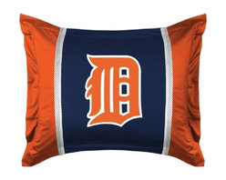 Sports Coverage - MLB Detroit Tigers Sidelines Pillow Sham - Make that new officially licensed MLB Detroit Tigers Sidelines Pillow Sham look as good as it feels. A must have for any true fan. A New Design - Same great quality!! Show your team spirit with this officially licensed MLB Sham. Shams are 31 x 25 including flanged edges. 3 overlapping envelope closure is on back. 100% Polyester Jersey. Logo is screenprinted. Machine washable.