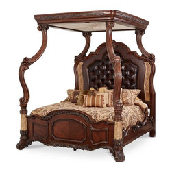 AICO Furniture - Victoria Palace Light Espresso Canopy Bed by Michael Amini - The Victoria Palace Collection is designed to turn your home into a royal palace. Wood scrolling, intricate detailing, marble inlays and distressed leather are the features you'll find looking gorgeous on most of the collection pieces.