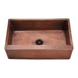 "MR Direct - MR Direct 913 Single Bowl Copper Apron Sink - The 913 single bowl apron sink is made from 99% pure-mined copper. It is comprised using one piece construction, giving you a very strong and durable copper sink. Since copper is stain resistant, it is great for busy households that benefit from low-maintenance materials. The hammered finish looks great and provides a mask for small scratches that may appear over time. The overall dimensions of the 913 are 33 1/4"" x 20 3/8"" x 9"" and a custom apron style cabinet is required. The sink contains a centered 3 1/2"" drain opening and copper strainers and flanges are available. The hand-crafted copper details are sure to add warmth and richness to any decor.  Strainers not included."