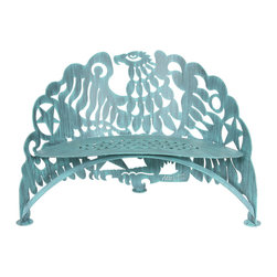 Cricket Forge - Eagle Bench - Exult in the strength and courage of the eagle in this unique and dynamic rendering. Cut from steel and beautifully crafted, the Eagle Bench is an incredible piece of art furniture. Elegant in your home or garden, the striking artistic elements set this piece apart. Hand painted in our signature Verdi color.