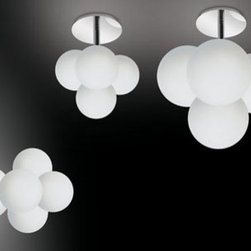 Tybo C Wall Lamp \ Sconce By Modiss Lighting - Tybo C Wall & Ceiling Lamp by Modiss is a series of clustered wall and ceiling lights that feature four bubble glass lamps, which make up a complete line of lights.