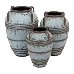 Benzara - Set of 3 Metal Vase with Exemplified Finesse - Set of 3 Metal Vase with Exemplified Finesse. This set includes three vases in a matching design, which are ideal for use as decor pieces.