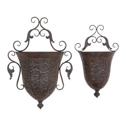"Benzara - Metal Wall Planter - Set of 2 - If you are looking for low cost but rare to find elsewhere utility- decor item to bring extra galore that could refresh the decor appeal of short wall spaces in porch and room, beautifully carved 69133 METAL WALL PLANTER S/2 a set of two may be a good choice.; Material: Rust free premium grade metal alloy; Color: Brown; Set of two planters; Impressive gift; Unique garden decor with flexibility and portability; Dimensions: 22 , 18""H"