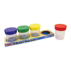 "Melissa & Doug - Melissa and Doug Spill Proof Paint Cups Multicolor - 1623 - Shop for Painting from Hayneedle.com! Set of 4 spillproof paint cups. 4 colorful lids. Each cup dimensions: 3.5W x 4H inches. Ideal for keeping paint for your childs crafts or useful for organizing small items. By Melissa and Doug. About Melissa & Doug ToysSince 1988 Melissa & Doug have grown into a beloved children's product company. They're known for their quality educational toys and items and have grown in double digits annually. The Melissa & Doug company has been named Vendor of the Year by such great retailers as FAO Schwarz Toys R Us and Learning Express and their toys have been honored as ""Toys of the Year"" by Child Magazine FamilyFun Magazine and Parenting Magazine. Melissa & Doug - caring quality children's products."