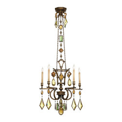Fine Art Lamps - Encased Multi-colored Gems Chandelier, 708340-1ST - Treat your favorite space to this lavish chandelier and see your world in a dazzling new light. A gallery of encased crystal gems descends dramatically from a rich bronzed-patina frame.