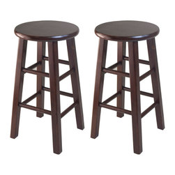 "Winsome Wood - Winsome Wood Set of 2 - 24 Inch Counter Stool w/ Square Legs - The set comes with 2 counter stools, essential and stylish black 24"" Assembled Stool with square legs. Perfect for extra seating. Overall stool size is 13.4""W x 13.4""D x 242""H. Solid wood in Antique Walnut Finish Counter Stool (2)"