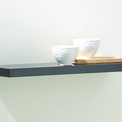 Magellan Group - Black Slim Line Floating Shelf - 24W in. - SL24B - Shop for Wall Hooks Shelves and Racks from Hayneedle.com! A bold simple addition to your contemporary-style decor the Black Slim Line Floating Shelf - 24W in. provides an ideal surface for keeping your favorite display pieces in a prominent place. Its floating-style appearance is achieved with a keyhole-style installation for a clean look and enduring stability. The shelf is constructed from solid medium-density fiberboard and features a protective furniture-grade black finish. All necessary installation hardware is included.