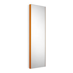 "WS Bath Collections - Speci 5673.15 Wall Mount Mirror 12.8"" x 39.4"" - Speci 5673.15 Mirror Wall Mount in Glass and Powder Coated Aluminum Orange Frame"