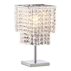 Zuo Modern - Zuo Modern Falling Stars Chrome Table Lamp - Crystal ConstellationWhen you wish upon a star, you can enjoy the gorgeous glow of Zuo's Falling Stars Chrome Table Lamp. This chic table lamp is a glamorous combination of sleek chrome and dazzling crystals. Strands of diamond-like squares create a tiered shade that feels feminine and luxurious. Use it to turn up the opulence in a contemporary home, or let it say volumes in a girlie, transitional retreat. It comes ready to shine with a 60-watt bulb. Sounds like your wish came true!Comes with a 60-watt bulbIn-line cord switch