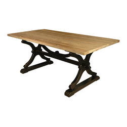 Kathy Kuo Home - Quiznol Old Pine Black Base Rustic Farmhouse Dining Table - Is your kitchen country or modern? No matter what your design style, this rustic dining table will fit right in. It's got just enough rustic — and industrial — finesse to look good in either setting.