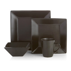 American Atelier - American Atelier Harmony Black Earthenware 16-piece Dinnerware Set - A squared shape adds modern sophistication to this 16-piece Harmony dinnerware set by American Atelier. Crafted with durable earthenware,this black dinnerware can be used for casual occasions or dinner parties.