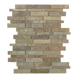 "Glass Tile Oasis - Nature-Sold by the Box Random Bricks Brown Ardesia Linea Grande Series Polished - Sheet size:  12"" x 15 1/2"".        Tiles per sheet:  54        Tile thickness:  1/4""        Grout Joints:  1/8""        Sheet Mount:  Mesh Backed    Sold by the box - 5 sheets per box    -  Visually textural  yet silky smooth to the touch  Lineal Slate offers some of the smoothest  warmest surfaces in the world of architectural & design stone-based products. In eight earthen colors  rustic to contemporary  it presents a layered composition of a finish as old as time."