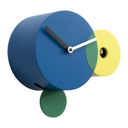Progetti - Kandinsky 2160 Yellow/Blue Wall Clock - It is made of three intersecting circles of different sizes and colors reminiscent of the art of Kandinsky, which was inspired by the balance of power and weight between the geometric elements and their interaction with the colors. Just the circle took on a special meaning for the artist, who said, 'the circle, sometimes can not be called anything but romantic.' Battery quartz movement. The Cuckoo strike is switched off automatically during the night controlled by a light sensor.