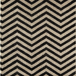 """Rugs America - Contemporary Hudson Hallway Runner 2'3""""x7'10"""" Runner Black Chevron Area Rug - The Hudson area rug Collection offers an affordable assortment of Contemporary stylings. Hudson features a blend of natural Slate Chevron color. Machine Made of 100% Polypropylene the Hudson Collection is an intriguing compliment to any decor."""