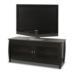 """Tech Craft - Tech-Craft Veneto 48"""" Black Wood LCD/Plasma TV Stand - Tech Craft - TV Stands - SWBL48. The Tech-Craft Veneto Series Black 48"""" Wood Credenza features a flat back tone that will blend with almost any room setting. The glass doors hide your components easily and the Veneto Series Black 48"""" Credenza provides ample storage and wire management."""