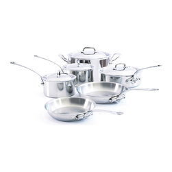 Mauviel M'cook Stainless Steel 10 Piece Cookware Set - The Mauviel M'cook 5 Piece Cookware Set offers professionals and household cooks the highest culinary technology. Five layers of materials provide perfect conductivity for each product thanks to fast and uniform heat distribution. The handles are made from cast stainless steel and reinforce the pure and modern design of this range. Each piece of Mauviel cookware is handcrafted in France. Set Includes 1.9 qt Saucepan with lid (5210.17) 1.9 qt Saucepan lid 3.6 qt Saucepan(5210.20) 3.6 qt Saucepan lid 3.4 qt Saute pan with helper handle (5211.25) 3.4 qt Saute pan lid 9.5 in Round Frying Pan / Skillet (5213.24) 11.8 in Round Frying Pan / Skillet (5213.30) 6.4 qt Stew pot / Dutch Oven (5215.24) 6.4 qt Stew pot / Dutch Oven lid