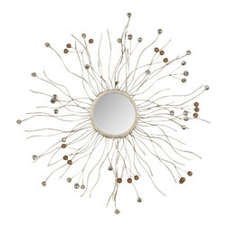 Welcome Home Accents - Silver Metal Sunburst Wall Mirror With Jeweled Ends - Sunburst silver metal wall mirror. Bursts are adorned with silver and gold jewels. Hook on back for easy hanging Wipe with a dry cloth. Made in China