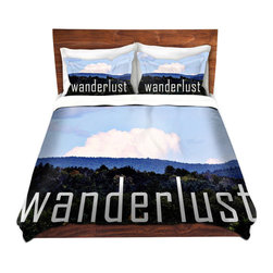 DiaNoche Designs - Duvet Cover Twill - Wanderlust - Lightweight and soft brushed twill Duvet Cover sizes Twin, Queen, King.  SHAMS NOT INCLUDED.  This duvet is designed to wash upon arrival for maximum softness.   Each duvet starts by looming the fabric and cutting to the size ordered.  The Image is printed and your Duvet Cover is meticulously sewn together with ties in each corner and a concealed zip closure.  All in the USA!!  Poly top with a Cotton Poly underside.  Dye Sublimation printing permanently adheres the ink to the material for long life and durability. Printed top, cream colored bottom, Machine Washable, Product may vary slightly from image.