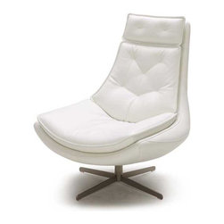 Zuri Furniture - Alma Tufted Top-Grain Leather Accent Chair - Inspired by mid-century design, the Alma chair is a retro throw back that will add style to any space. Wrapped in white top grain leather with a brushed nickel swivel base, this will be a piece you can't live without!
