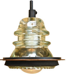 "railroadware - Insulator Light Pendant with 5"" Rusted Metal Hood 1 - Insulator Light Pendant with 5"" Rusted Metal Hood Accessory (Hemingray Clear) -"
