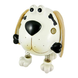 Zeckos - Fluffy Eared Dog Piggy Bank with Spring Legs Money - This cool cold cast resin puppy dog money bank really brightens up a room. The dog features plush droopy ears and has springs on all four legs, so he shakes a bit when you drop money in. The dog measures 6 1/2 inches tall, 5 1/2 inches wide and 4 1/2 inches deep. The bank empties via a pull-off plastic piece on the bottom. It is hand-painted, and makes a great gift for dog lovers.