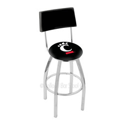 Holland Bar Stool - Holland Bar Stool L8C4 - Chrome Cincinnati Swivel Bar Stool - L8C4 - Chrome Cincinnati Swivel Bar Stool w/ Back belongs to College Collection by Holland Bar Stool Made for the ultimate sports fan, impress your buddies with this knockout from Holland Bar Stool. This contemporary L8C4 logo stool has a chrome single-ring base and a cushioned back to achieve maximum comfort and support. Holland Bar Stool uses a detailed screen print process that applies specially formulated epoxy-vinyl ink in numerous stages to produce a sharp, crisp, clear image of your team's emblem. You can't find a higher quality logo stool on the market. The plating grade steel used to build the frame is commercial quality, so it will withstand the abuse of the rowdiest of friends for years to come. The structure is triple chomed to ensure a rich, sleek, long lasting finish. Construction of this framework is built tough, utilizing solid mig welds. If you're going to finish your bar or game room, do it right- with a Holland Bar Stool. Barstool (1)