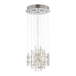 "Vienna Full Spectrum - Contemporary Venris 16"" Wide Crystal Pendant Chandelier - Add a glamorous modern touch to your entryway or dining room. Clear crystal beads drape elegantly from this chandelier for a dazzling display. The round pendant completes the look in a smart chrome finish. Chrome finish. Egyptian crystal. Includes three 50 watt GU10 Halogen bulbs and  six 25 watt G4 Halogen bulbs. 16"" wide. 30"" high. Hang weight is 9 lbs.  Chrome finish.  Clear crystal.  Light includes six 25 watt G9 halogen bulbs.  Canopy includes three GU-10 halogen bulbs.  16"" wide.  30"" high.  Hang weight is 9 lbs."
