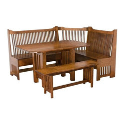 """Mission Breakfast Nook Set - The breakfast nook benches have 6"""" storage areas under the seat.   This breakfast nook set can be ordered at DutchCrafters.com."""