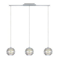 Eglo Lighting - Mercur 88295A - Pendant Lamp | Eglo - Eglo Lighting Mercur�_88295A�_Pendant Lamp features�_brushed aluminum finish. Manufacturer:�_Eglo LightingSize:�_39.8 in. length x 5.1 in. width x 47.3 in. height max field cuttable cord Light Source:�_3 x 40 watt A19 - not included Certifications: ETL Location: Dry