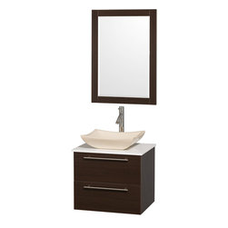 Wyndham - Amare 24in. Wall Vanity Set in Espresso w/ White Stone Top & Ivory Marble Sink - Modern clean lines and a truly elegant design aesthetic meet affordability in the Wyndham Collection Amare Vanity. Available with green glass or pure white man-made stone counters, and featuring soft close door hinges and drawer glides, you'll never hear a noisy door again! Meticulously finished with brushed Chrome hardware, the attention to detail on this elegant contemporary vanity is unrivalled.