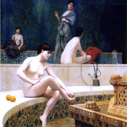 """Jean-Leon Gerome Harem Bathing - 16"""" x 20"""" Premium Archival Print - 16"""" x 20"""" Jean-Leon Gerome Harem Bathing premium archival print reproduced to meet museum quality standards. Our museum quality archival prints are produced using high-precision print technology for a more accurate reproduction printed on high quality, heavyweight matte presentation paper with fade-resistant, archival inks. Our progressive business model allows us to offer works of art to you at the best wholesale pricing, significantly less than art gallery prices, affordable to all. This line of artwork is produced with extra white border space (if you choose to have it framed, for your framer to work with to frame properly or utilize a larger mat and/or frame).  We present a comprehensive collection of exceptional art reproductions byJean-Leon Gerome."""