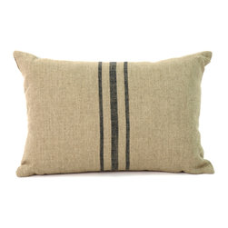 Zentique - 14x20 Blue Stripe Pillow - This old-fashioned, natural linen pillow, with a classic, blue center stripe, will make your bed a cozy spot to curl up in. Perfect for a beach cottage, four poster bed or guest room, this timeless style still captures hearts and heads.