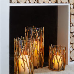 """Horchow - Small Golden Twig Hurricane - Exclusively ours. Beautiful all year, these golden """"twig"""" hurricanes create spectacular holiday centerpieces or make stunning accent pieces for tabletop or mantel display while providing the ambiance of candlelight to the room. Or use them as unique v..."""