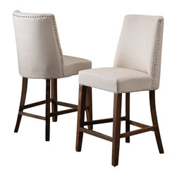 Great Deal Furniture - Rydel Nailhead Accent Linen Beige Fabric Stools (Set of 2) , Counter Height - The Rydel Linen Beige Fabric Counter Stools are a perfect set to bring together any space in your home. They enhance almost any decor for your dining room or bar area. The Rydel linen beige fabric counter stools are casual enough for the traditional to the more modern tastes, feature chrome nailhead accent, and its neutral colored upholstery make these counter stools complement most existing furniture.