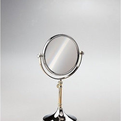 """Windisch by Nameeks - Stand Makeup Mirror - Windisch's Stand Mirrors optical mirror is a makeup magnifying mirror that compliments a contemporary style bath. This free stand makeup mirror is a quality option for your decorative personal bathroom. This high-quality makeup mirror is made of extremely high quality brass and coated in chrome, gold, or chrome and gold. Features: -Makeup mirror. -Stand Mirrors collection. -Contemporary style. -Round shape. -Free standing. -3x Magnification. Specifications: -Overall Dimensions: 13.98"""" H - 15.35"""" H."""