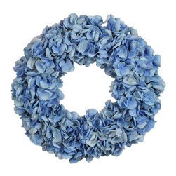 Jane Seymour Botanicals - Wreath Dried Hydrangea, Light Blue - All the delicate crinkly charm of bona fide dried blooms — with the staying power of fantastic faux. This blue hydrangea wreath adds a welcoming touch anywhere in your decor.