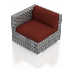 Harmonia Living - Urbana Modern Wicker Left Arm Chair, Weathered Stone Wicker, Henna Cushions - The Urbana Outdoor Wicker Left Arm Facing Chair with Red Sunbrella Cushions (SKU HL-URBNWS-LAS-HN) is the perfect starting or end point for building your own stylish Urbana Sectional. Made with High-Density Polyethylene (HDPE) wicker, a fade-resistant color is designed to withstand the elements. The section is constructed with a sturdy, thick-gauged aluminum frame, protected with a powder coating for even greater corrosion resistance. The seats are also reinforced to provide support and prevent excessive wicker stretching from repeated use. Both seat and back cushions are included, with your choice among four fade- and mildew- resistant Sunbrella fabric options.