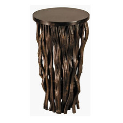 "Groovy Stuff - Large ""Time Revealed"" Side Table - Contemporary style. Perfect as side table or an accent piece for displaying treasures. Reclaimed and distressed finish. Made from reclaimed vines. Chocolate lacquer finish. 16 in. Dia. x 30 in. H (21 lbs.)""Time Revealed"" by Janice Kammler. ""The Bleached white color and curves of the teak vines resemble roots exposed from the receding water levels of Lake Mead, near Las Vegas, NV. The incorporation of the subtle metal element was inspired by the industrialization of Las Vegas. The current drought in the south-west has caused the water to drop to levels not seen since it was first filled 80 years ago."" Textured, sinuous branches serve as the base for the Time Revealed Table by Janice Kammler."